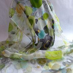 """Nouveauté etole écharpe foulard en mousseline de soie peint main """" mistral gagnant """""""