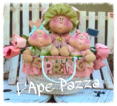 Cartamodelli primavera 2015 : Cartamodelli conigli nella cesta fermaporte