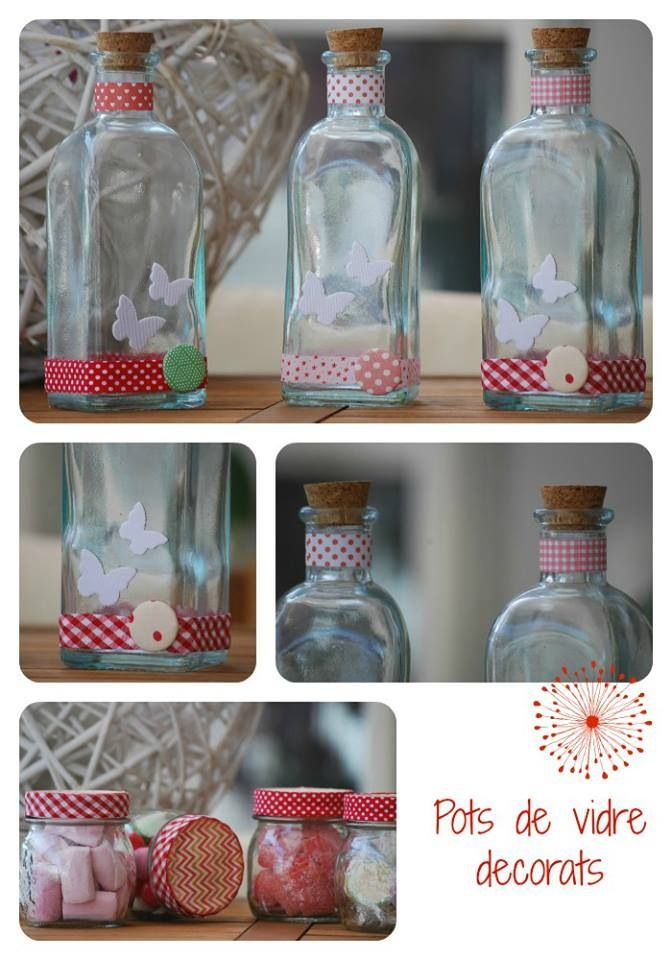 recicla tus botes de cristal  con washi tape :))