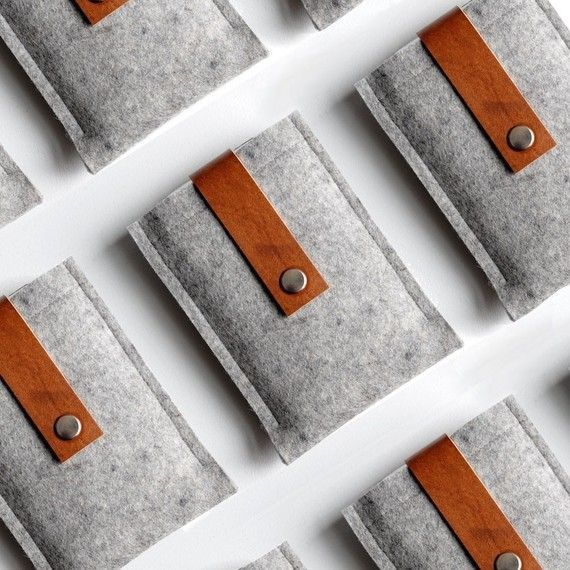 felt & leather iPhone case--eco & you can wrap ear buds around strap!