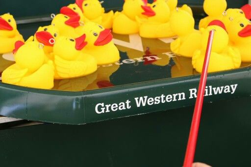 Hook a duck at the stand for GWR Great Western Railway, sponsors of 2015 Polo on the beach at Watergate Bay in Newquay, Cornwall.