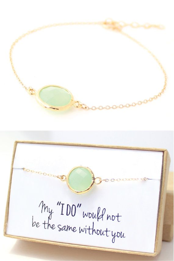 Gold Bridesmaid Jewelry - Mint Green Bridesmaid Bracelet - Green Jewelry - Mint Bracelets Delicate Bracelet Mint Green Bridesmaid Gift - BB1