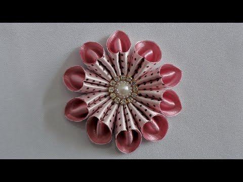 Flor de Fita Com Pérolas - Passo a Passo - YouTube