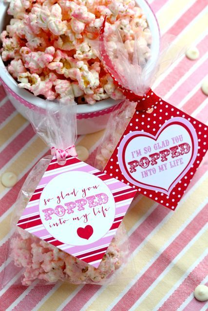 """so glad you popped into my life"" valentine's day pink popcorn.  tags by anne hitchins via your southern peach."