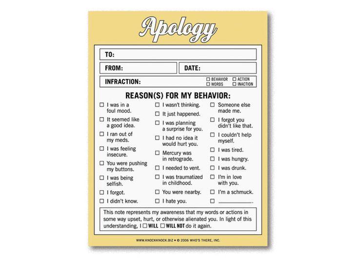 Apology Nifty Notes