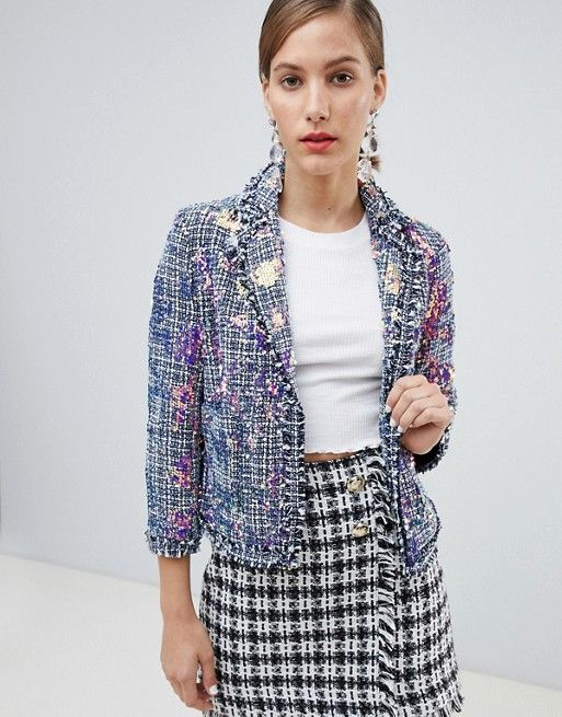 36c3219b7 River Island sequin embellished jacket in tweed | Blazer | Jackets, Tweed,  River island