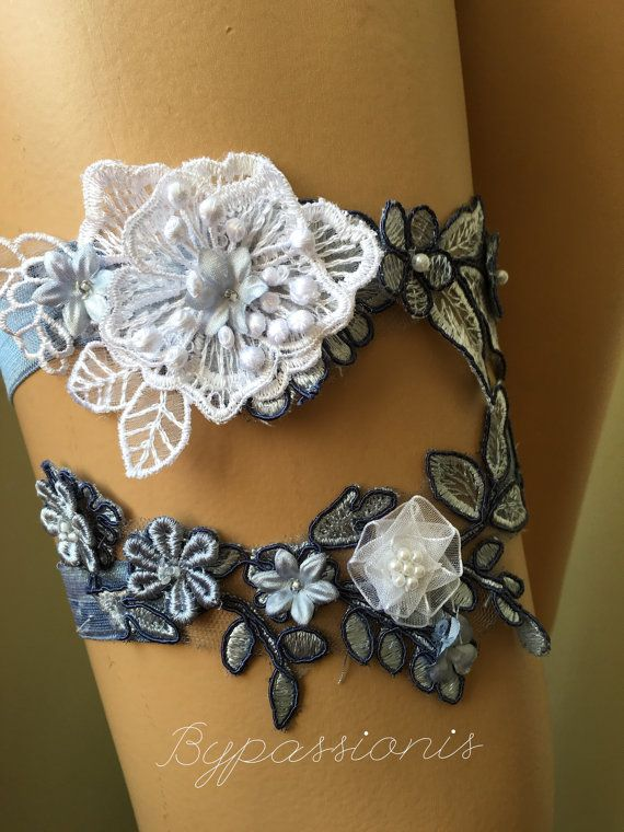 Wedding Garter set blue ivory Lace garter Bridal by byPassion