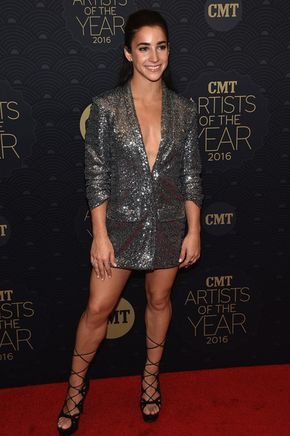 Aly Raisman Tuxedo Dress - Aly Raisman stole the show in a plunging silver tux dress by Hayley Paige at the CMT Artists of the Year event.