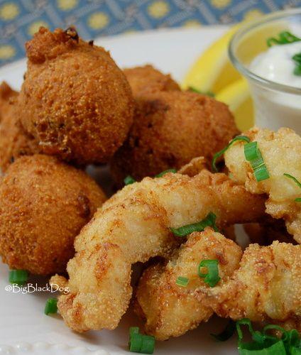 Pan-Fried Catfish Fingers, Tartar Sauce, and Hushpuppies!