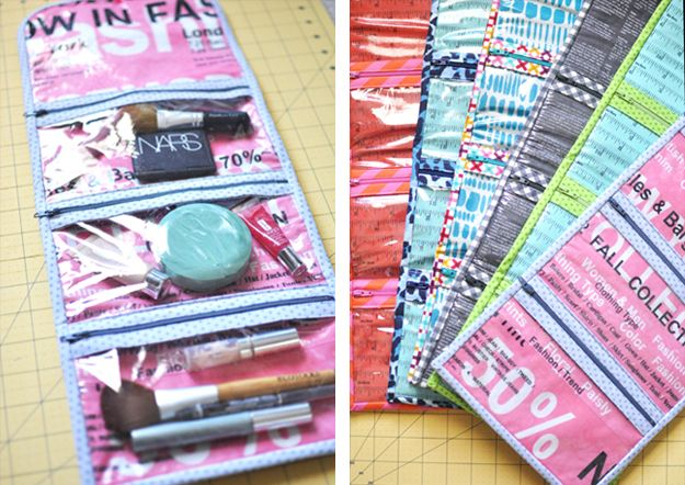 Roll-up cosmetics case with clear vinyl zippered pockets -- sewing tutorial