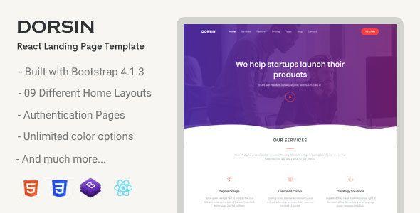 Dorsin React Landing Page Template Web Design Templates Sign