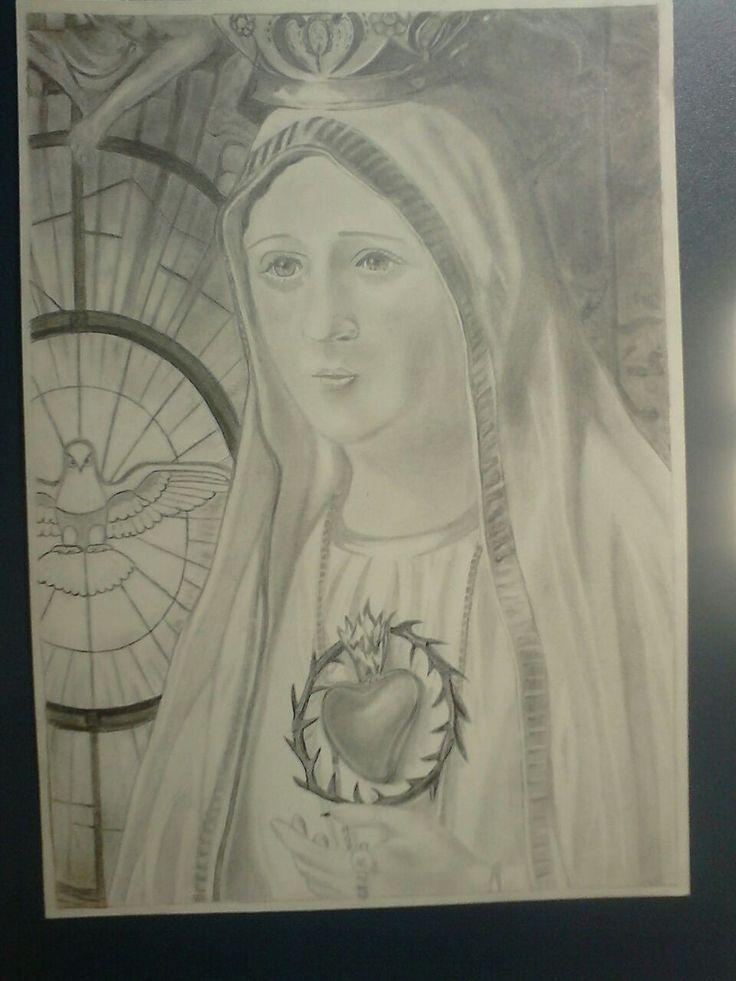 Sagrado coração de maria em grafite, deixem seus comentários é importante pra mim.