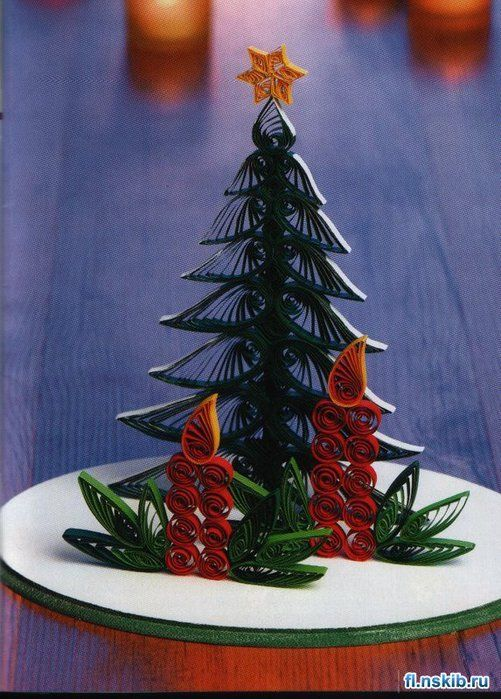 Beautiful little Christmas Tree with Candles-all quilled!
