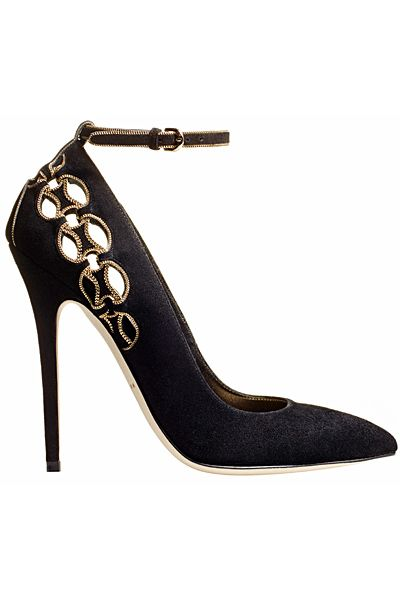 Brian Atwood Black Suede Cut-Out Ankle Strap Pumps Fall-Winter 2014 #Shoes #Heels