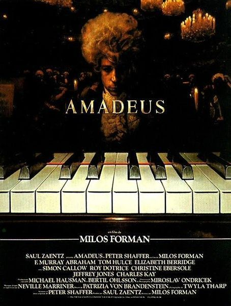 Amadeus is a 1984 period drama film directed by Miloš Forman and written by Peter Shaffer. Adapted from Shaffer's stage play Amadeus (1979), the story is a variation of Alexandr Pushkin's play Mozart i Salieri (Моцарт и Сальери, 1830), in which the composer Antonio Salieri recognizes the genius of Wolfgang Amadeus Mozart but thwarts him out of envy. <3 <3 <3 <3 <3/5