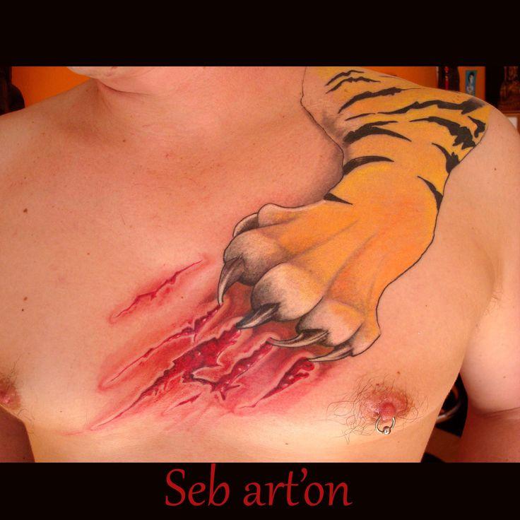 Tiger tattoo, love the scratching effect - Ales Seb, Studio Art'on Tattoo