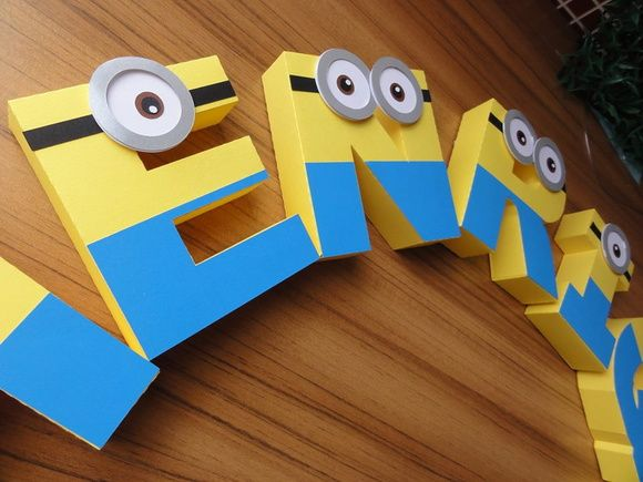 Letras 3d Decoradas Minion                                                                                                                                                      Mais