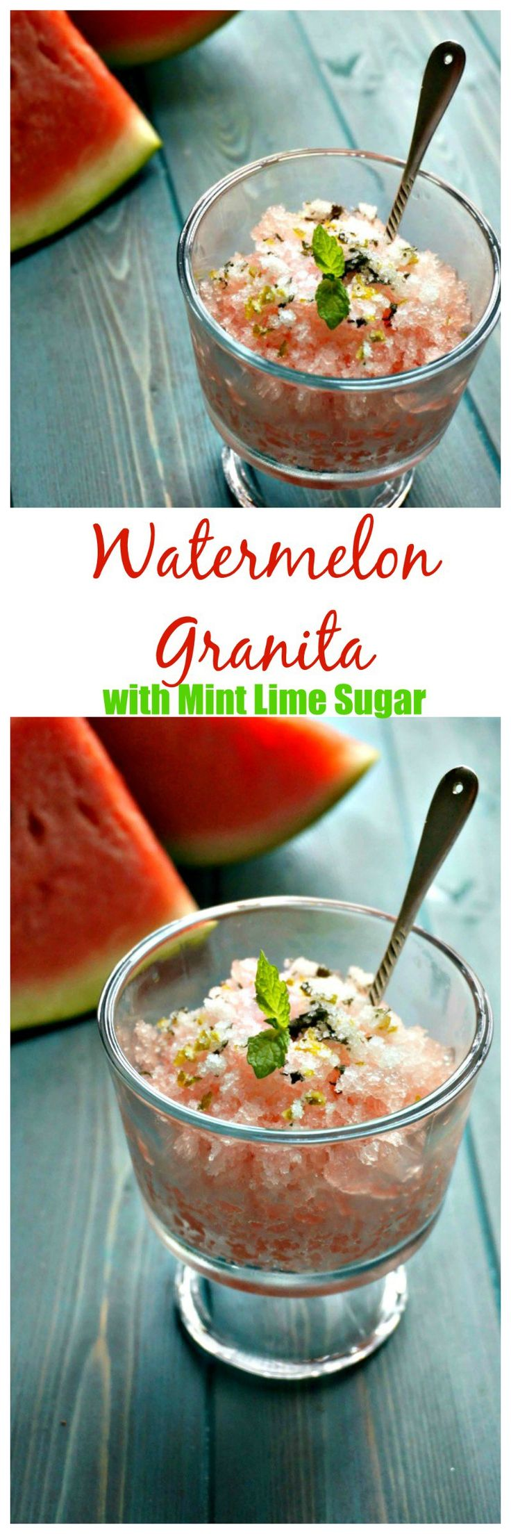 Watermelon Granita with Mint Lime Sugar: Fresh watermelon is turned into a refreshing granita that is finished off with a mint lime sugar. This is the perfect treat to cool down on a hot summer day. #FreshFromFlorida #IC #ad