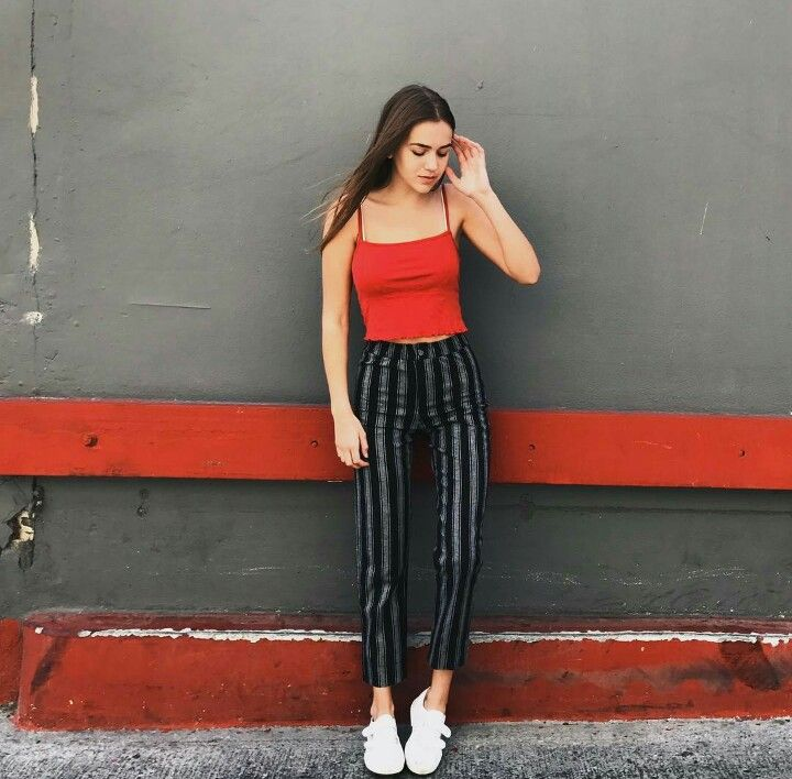 || brandy melville ||  Red tank and striped trousers.  Street style, street fashion, best street style, OOTD, OOTD Inspo, street style stalking, outfit ideas, what to wear now, Fashion Bloggers, Style, Seasonal Style, Outfit Inspiration, Trends, Looks, Outfits.