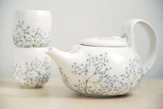 hand painted ceramic tea set $175.00: Babies Breath, Hands Paintings Ceramics, Ceramics Teas, Breath Collection, Breath Teas, Baby Breath, Teas Sets, Sets Baby, Breath Teapots