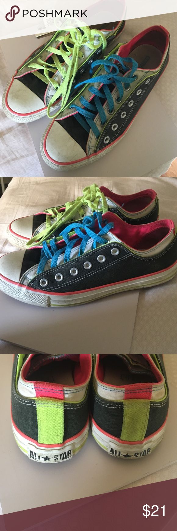 💜💚💗Neon converse lightly worn💗💚💜 WILL BE WASHED BEFORE SENT OUT. Love them but they don't fit anymore! Converse Shoes Sneakers
