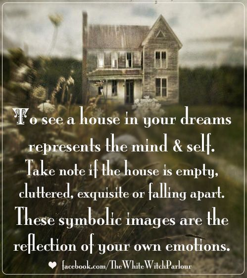 house, dream, meaning, symbolic, spiritual, witch, magic, subconscious, symbolism #whitewitchparlour facebook.com/thewhitewitchparlour