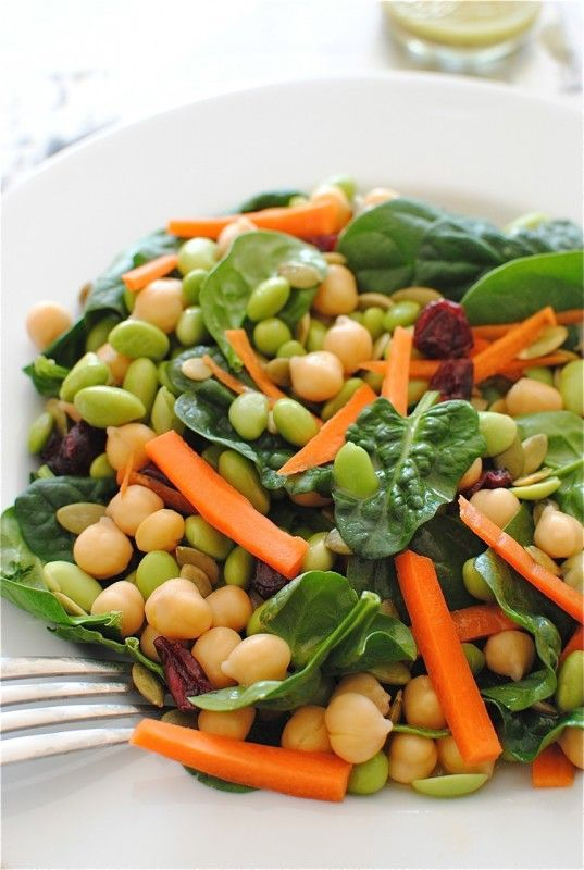 Spinach & Edamame Salad: Spinach Salad, Health Food, Chickpeas Salad, Edamame Salad Recipe, Healthy Recipe, Healthy Lunches, Food Recipe, Food Drinks, Frozen Edamame