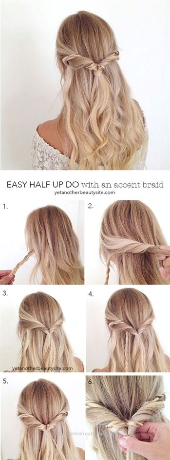 A half-open braiding hair for long hair, which is super fast. In just a few steps, you can make an all-out with this hair style …