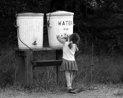 """Barrel says """"Water for Washing"""" Clean, potable (drinkable) water is a necessity of life."""