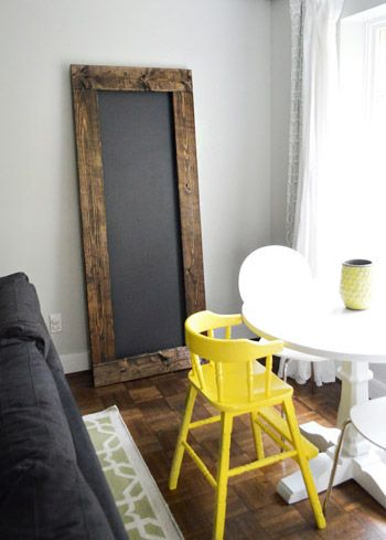 super simple DIY chalkboard (with a bright yellow back!) via Young House Love