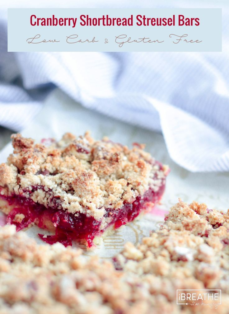 Low Carb Cranberry Shortbread Streusel Bars - the perfect keto cookie!