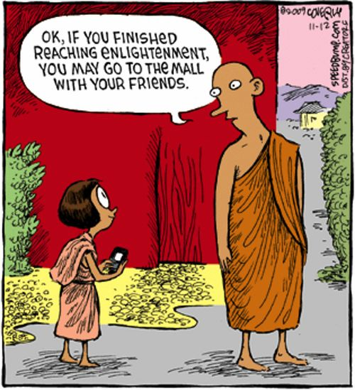 """OK, if you finished reaching enlightenment, you may go to the mall with your friends."""