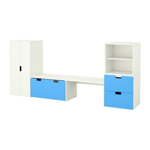 STUVA Storage combination with bench IKEA A playful and sturdy storage combination for sitting, playing and relaxing.