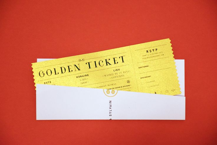 Golden Ticket - Wedding invitation by Allons-y Alonso | Design d'invitations & fun