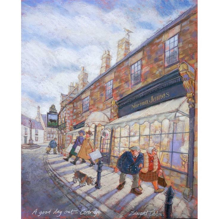 A Good Day Out - Corbridge signed print by Edward Tibbs