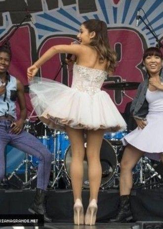 dress white cute heels high heels prom dress white dress beaded cute dress cute outfits ariana grande ariana grande dress ariana grande white dress nude high heels nude heels stilettos ponytail hairstyles hair extensions