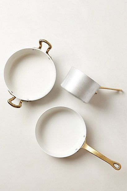 Kitchen ware, pots, white, brash