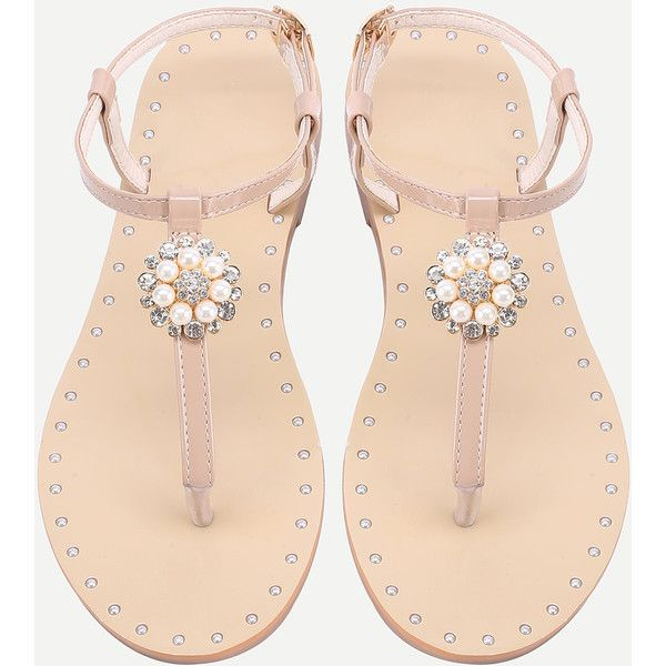 SheIn(sheinside) Faux Pearl And Rhinestone Detail Flat Sandals ($28) ❤ liked on Polyvore featuring shoes, sandals, apricot, strap sandals, rhinestone shoes, jeweled flat sandals, rubber toe shoes and jeweled sandals