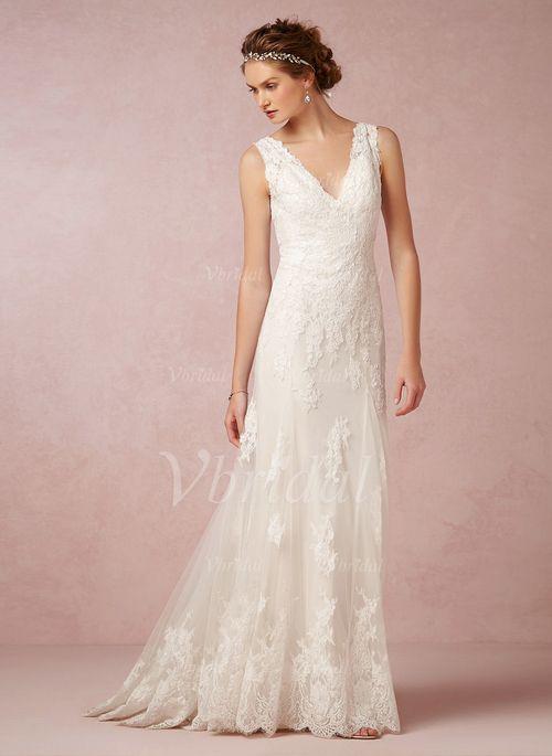 Brautkleider - $181.32 - Trompete/Meerjungfrau-Linie V-Ausschnitt Sweep/Pinsel zug Tüll Spitze Brautkleid (0025057550)