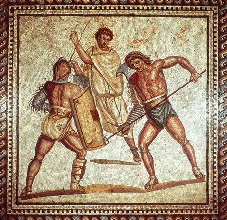 Gladiators fight in an arena, in an ancient Roman mosaic from a villa in Saarland, Germany.
