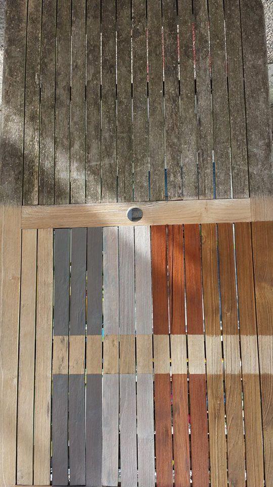 Een sterk vergrijsde / vervuilde hardhouten tafel. Eén zijde is schoongemaakt met hardhoutreiniger en voorzien van de verschillende kleuren E-OFF om de verschillende uitstralingen te tonen.