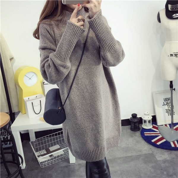 Turtleneck collar coat loose hair dress