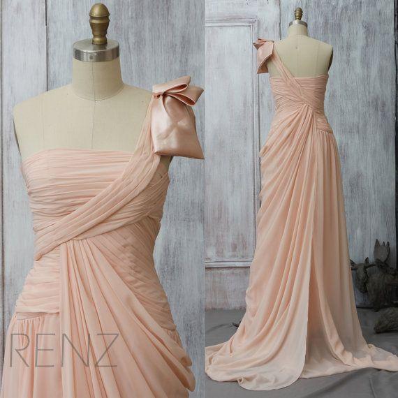 2015 Blush One Shoulder Bridesmaid Dress, Peach Wedding Dress, Prom Cocktail Dress,  Formal dress,Maxi Dress Floor Length with a Train(F077)