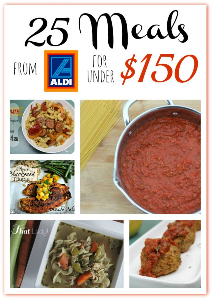 Love to shop at Aldi? See how to make 25 meals for under $150.00!  There are printable shopping lists and a meal planning calendar too!