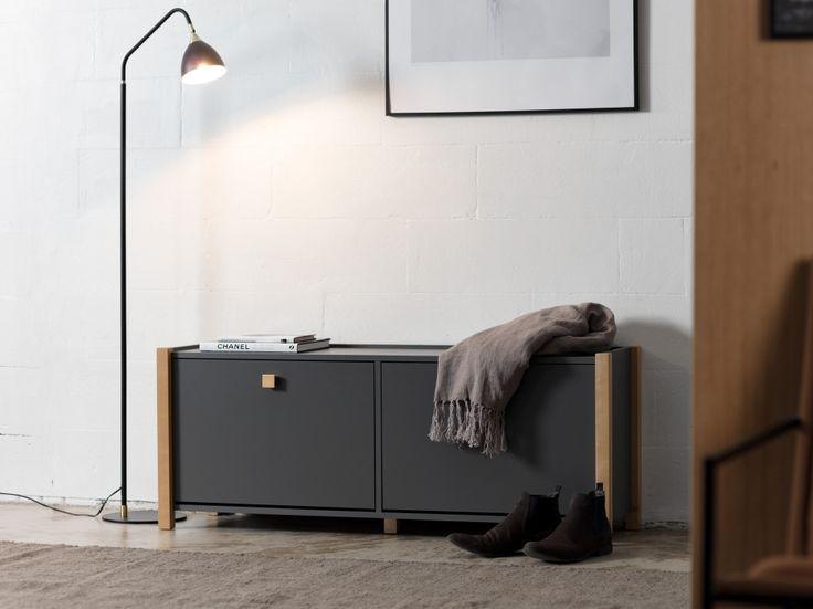 WESTDALE Skoskåp 125 Mörkgrå/Björk i gruppen Inomhus / Förvaring / Hallmöbler hos Furniturebox (110-75-125613)