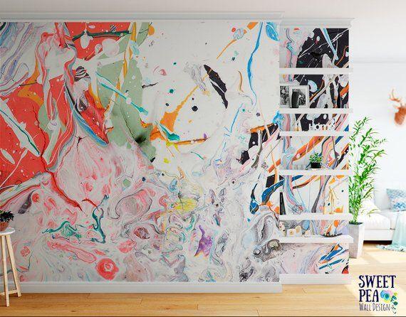 Working Artist Splatter Paint Wall Mural Abstract