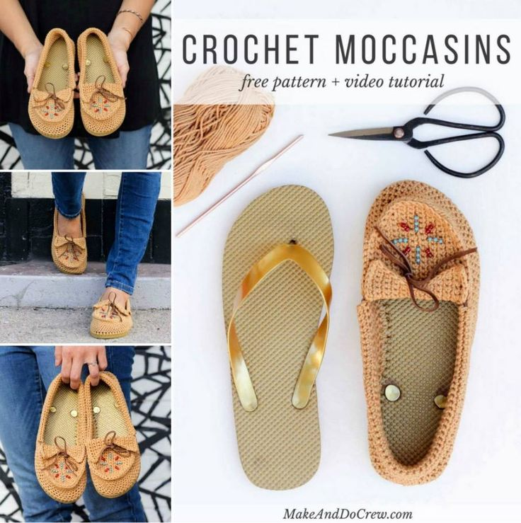 Crochet Moccasins With Flip Flop Soles