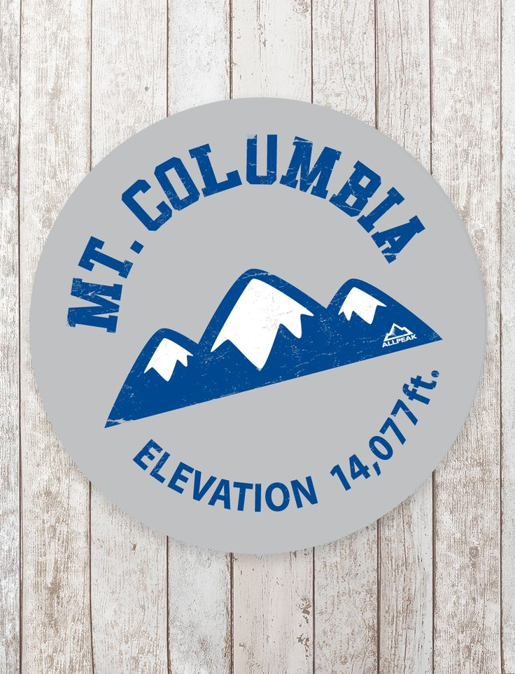 Part of the collegiate range series our mount columbia sticker features the schools color in an athletic inspired artwork distressed original design with