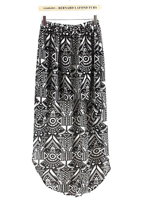 Black and White Geometric High-low Skirt - Sheinside.com