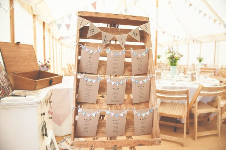 Crate Bunting Table Seating Plan Chart Floral Pretty Country Garden Wedding http://lisahowardphotography.co.uk/